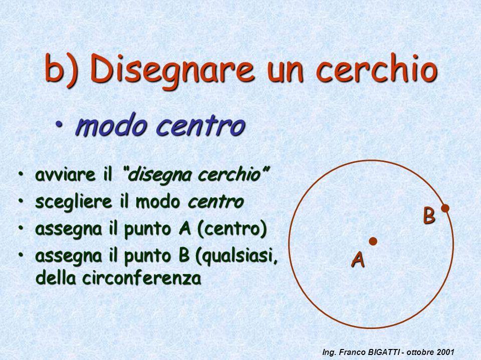 Ing. Franco BIGATTI - ottobre 2001 b) Disegnare un cerchio avviare il disegna cerchioavviare il disegna cerchio scegliere il modo centroscegliere il m