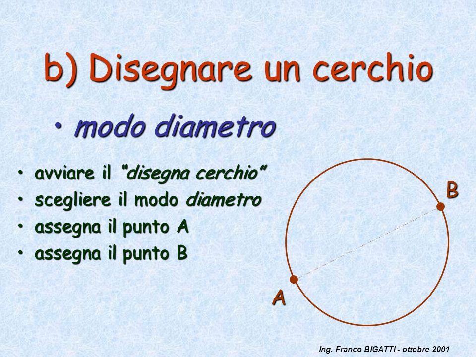 Ing. Franco BIGATTI - ottobre 2001 b) Disegnare un cerchio avviare il disegna cerchioavviare il disegna cerchio scegliere il modo diametroscegliere il