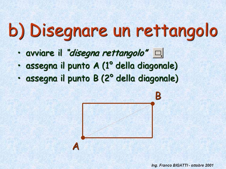 Ing. Franco BIGATTI - ottobre 2001 b) Disegnare un rettangolo avviare il disegna rettangoloavviare il disegna rettangolo assegna il punto A (1° della