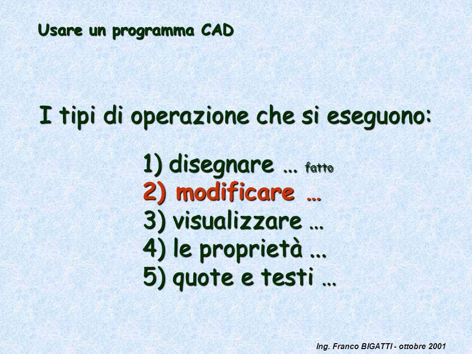 Ing. Franco BIGATTI - ottobre 2001 Usare un programma CAD I tipi di operazione che si eseguono: 1) disegnare … fatto 2) modificare … 3) visualizzare …