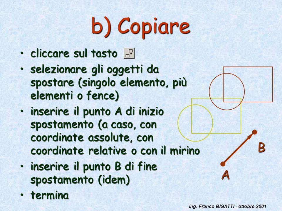 Ing. Franco BIGATTI - ottobre 2001 b) Copiare cliccare sul tastocliccare sul tasto selezionare gli oggetti da spostare (singolo elemento, più elementi