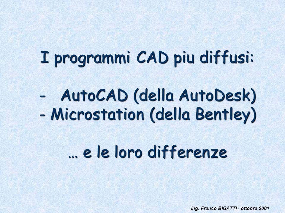 Ing. Franco BIGATTI - ottobre 2001 I programmi CAD piu diffusi: - AutoCAD (della AutoDesk) - Microstation (della Bentley) … e le loro differenze