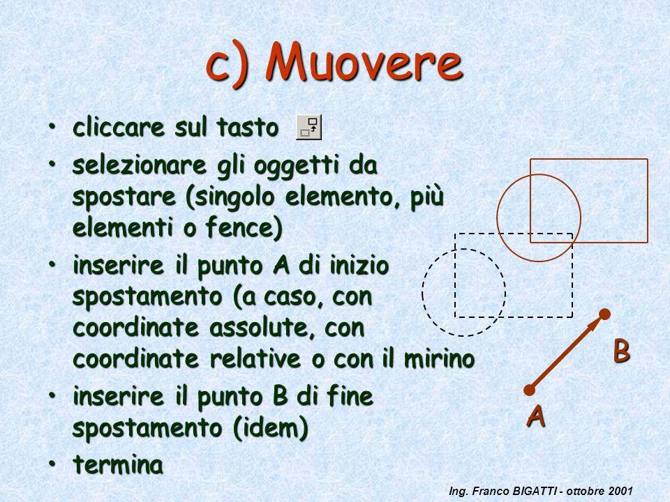Ing. Franco BIGATTI - ottobre 2001 c) Muovere cliccare sul tastocliccare sul tasto selezionare gli oggetti da spostare (singolo elemento, più elementi