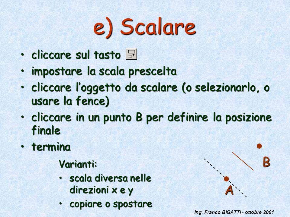Ing. Franco BIGATTI - ottobre 2001 e) Scalare cliccare sul tastocliccare sul tasto impostare la scala presceltaimpostare la scala prescelta cliccare l