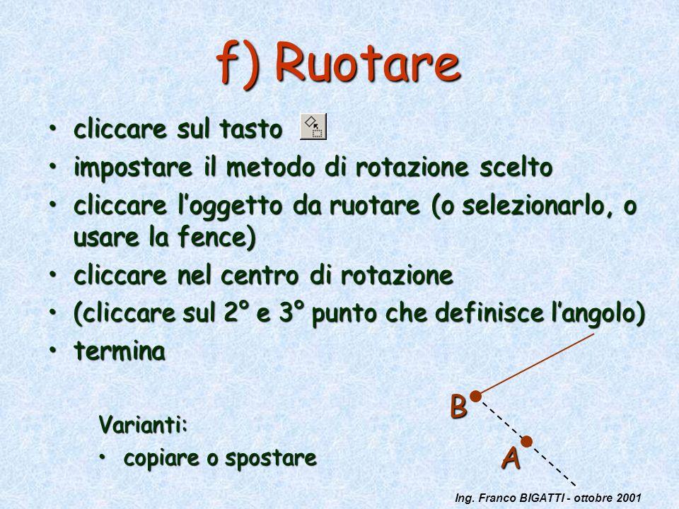 Ing. Franco BIGATTI - ottobre 2001 f) Ruotare cliccare sul tastocliccare sul tasto impostare il metodo di rotazione sceltoimpostare il metodo di rotaz