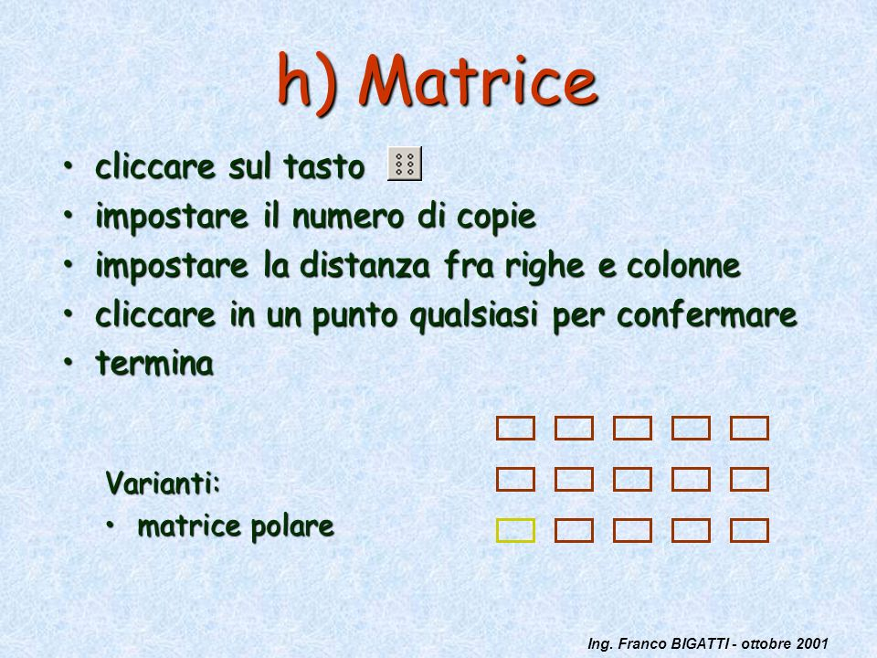 Ing. Franco BIGATTI - ottobre 2001 h) Matrice cliccare sul tastocliccare sul tasto impostare il numero di copieimpostare il numero di copie impostare