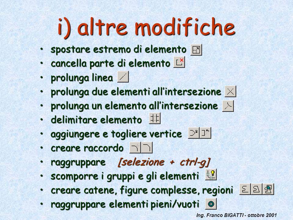 Ing. Franco BIGATTI - ottobre 2001 i) altre modifiche spostare estremo di elementospostare estremo di elemento cancella parte di elementocancella part