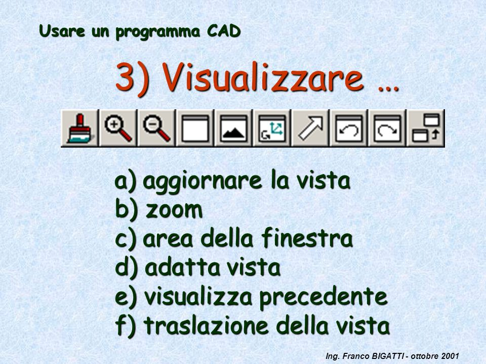 Ing. Franco BIGATTI - ottobre 2001 Usare un programma CAD 3) Visualizzare … a) aggiornare la vista b) zoom c) area della finestra d) adatta vista e) v