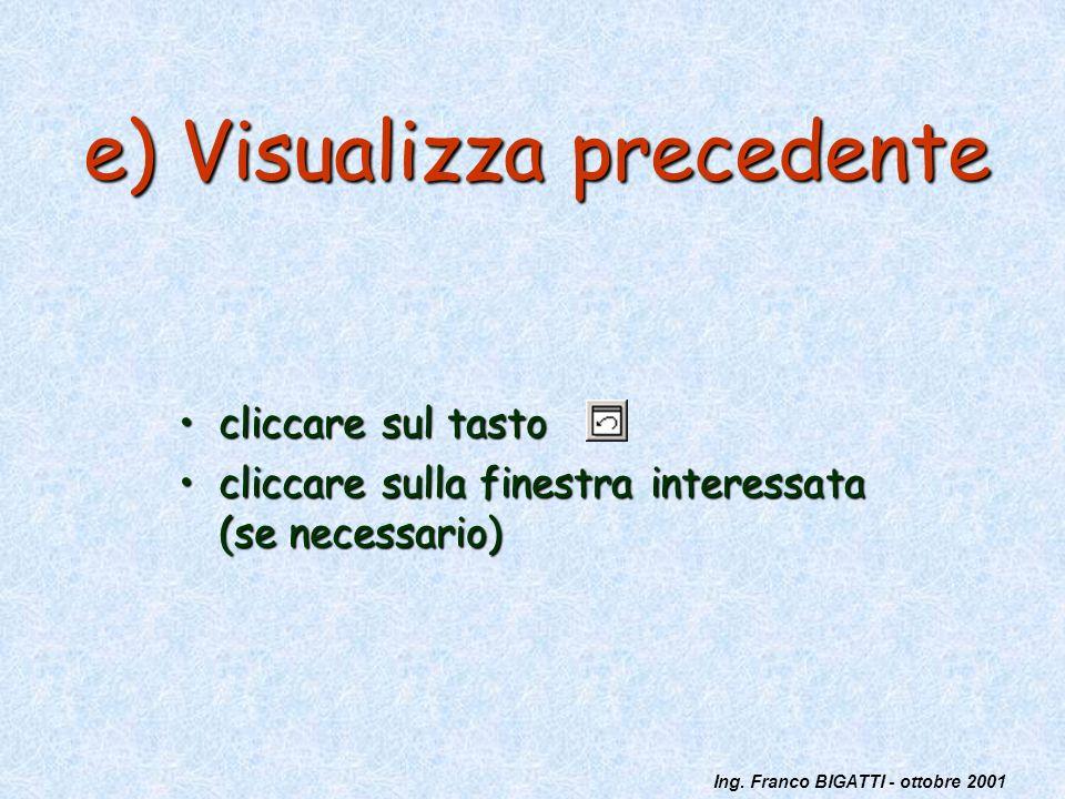 Ing. Franco BIGATTI - ottobre 2001 e) Visualizza precedente cliccare sul tastocliccare sul tasto cliccare sulla finestra interessata (se necessario)cl
