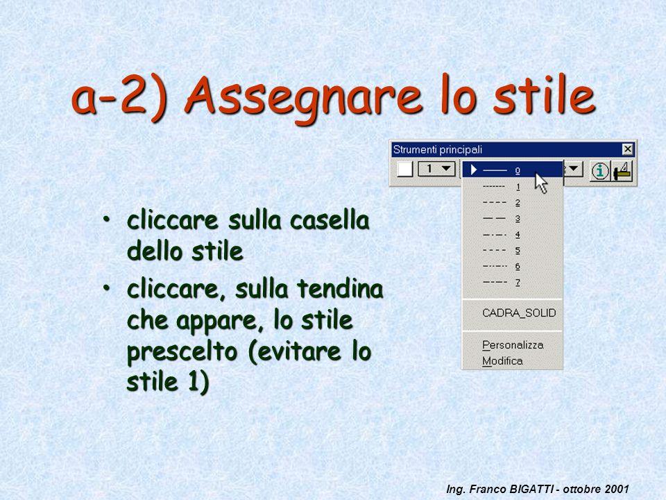 Ing. Franco BIGATTI - ottobre 2001 a-2) Assegnare lo stile cliccare sulla casella dello stilecliccare sulla casella dello stile cliccare, sulla tendin