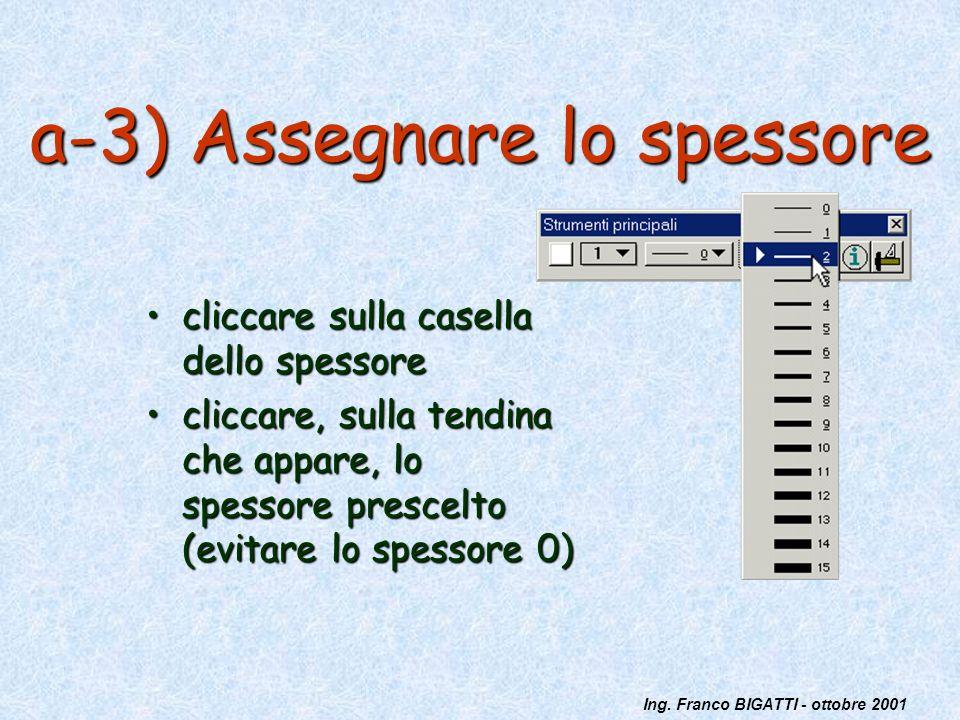 Ing. Franco BIGATTI - ottobre 2001 a-3) Assegnare lo spessore cliccare sulla casella dello spessorecliccare sulla casella dello spessore cliccare, sul