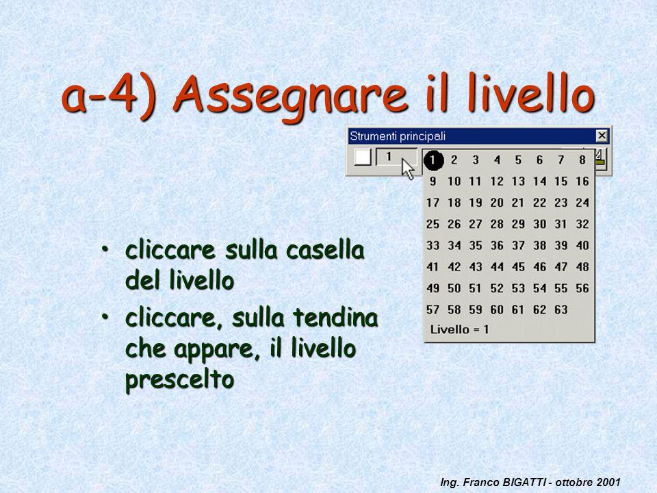 Ing. Franco BIGATTI - ottobre 2001 a-4) Assegnare il livello cliccare sulla casella del livellocliccare sulla casella del livello cliccare, sulla tend
