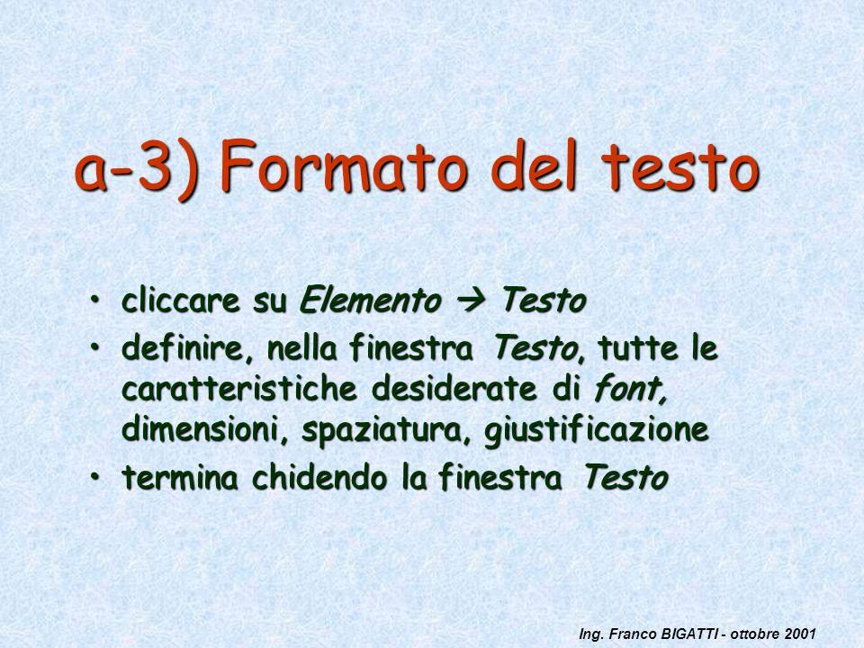 Ing. Franco BIGATTI - ottobre 2001 a-3) Formato del testo cliccare su Elemento Testocliccare su Elemento Testo definire, nella finestra Testo, tutte l
