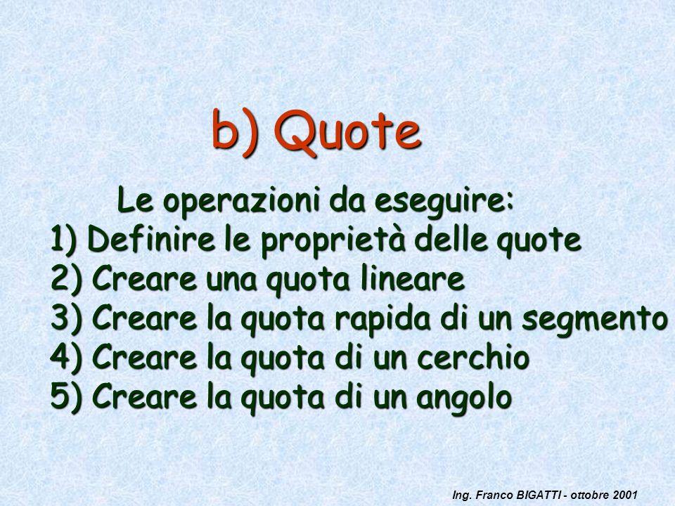 Ing. Franco BIGATTI - ottobre 2001 b) Quote Le operazioni da eseguire: 1) Definire le proprietà delle quote 2) Creare una quota lineare 3) Creare la q