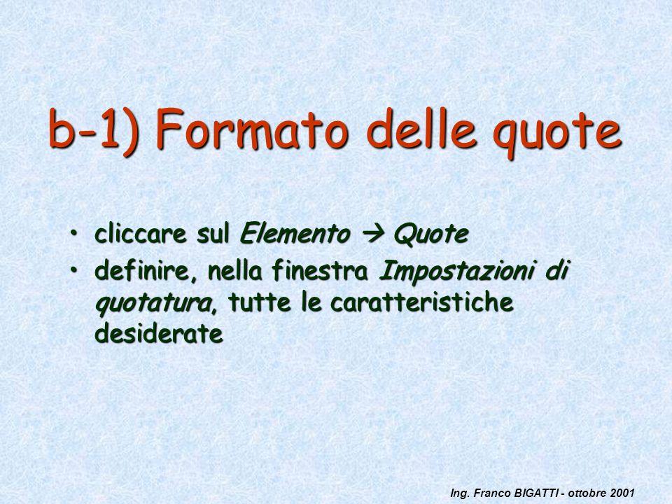 Ing. Franco BIGATTI - ottobre 2001 b-1) Formato delle quote cliccare sul Elemento Quotecliccare sul Elemento Quote definire, nella finestra Impostazio