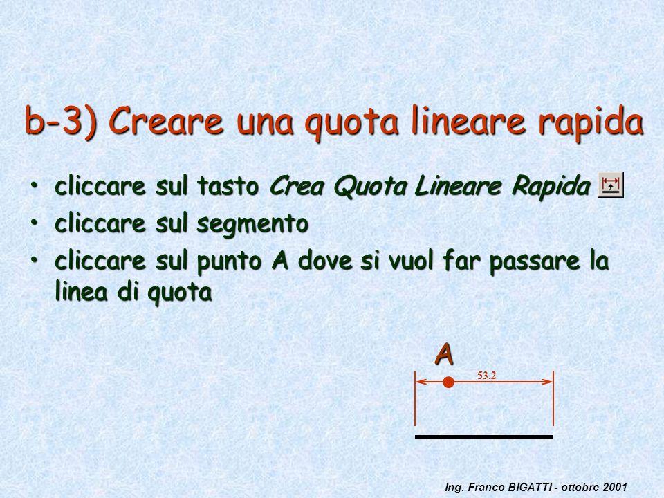 Ing. Franco BIGATTI - ottobre 2001 b-3) Creare una quota lineare rapida cliccare sul tasto Crea Quota Lineare Rapidacliccare sul tasto Crea Quota Line