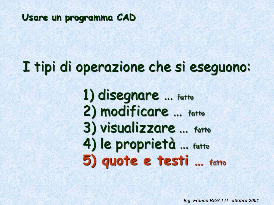 Ing. Franco BIGATTI - ottobre 2001 Usare un programma CAD I tipi di operazione che si eseguono: 1) disegnare … fatto 2) modificare … fatto 3) visualiz