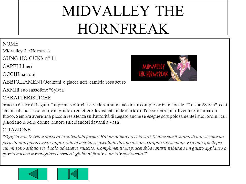 MIDVALLEY THE HORNFREAK NOME Midvalley the Hornfreak GUNG HO GUNS n° 11 CAPELLI neri OCCHI marroni ABBIGLIAMENTO calzoni e giacca neri, camicia rosa s