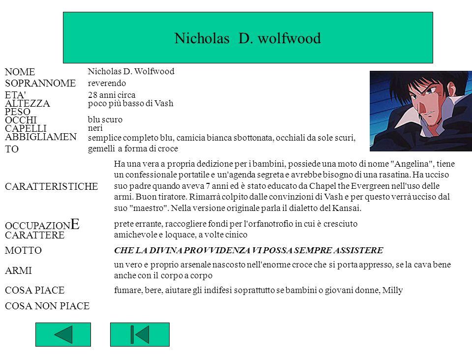 Nicholas D. wolfwood NOME Nicholas D. Wolfwood SOPRANNOME reverendo ETA' 28 anni circa ALTEZZA poco più basso di Vash PESO OCCHI blu scuro CAPELLI ner