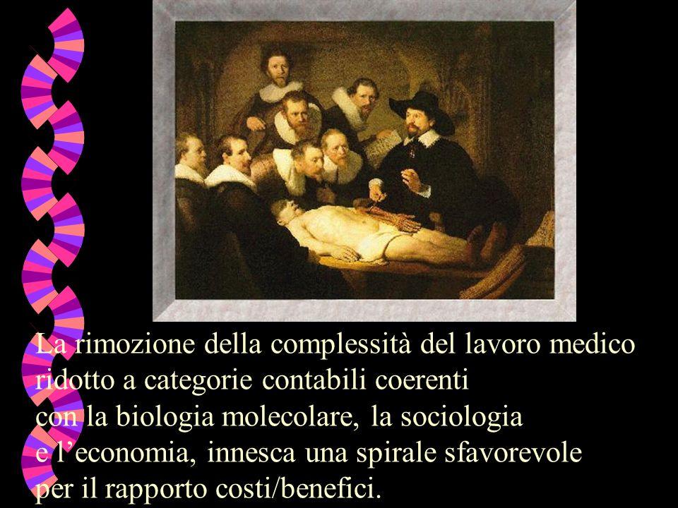 La rimozione della complessità del lavoro medico ridotto a categorie contabili coerenti con la biologia molecolare, la sociologia e leconomia, innesca una spirale sfavorevole per il rapporto costi/benefici.