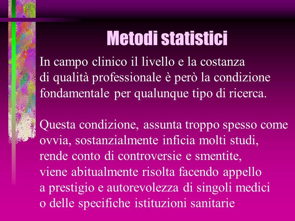 Metodi statistici In campo clinico il livello e la costanza di qualità professionale è però la condizione fondamentale per qualunque tipo di ricerca.