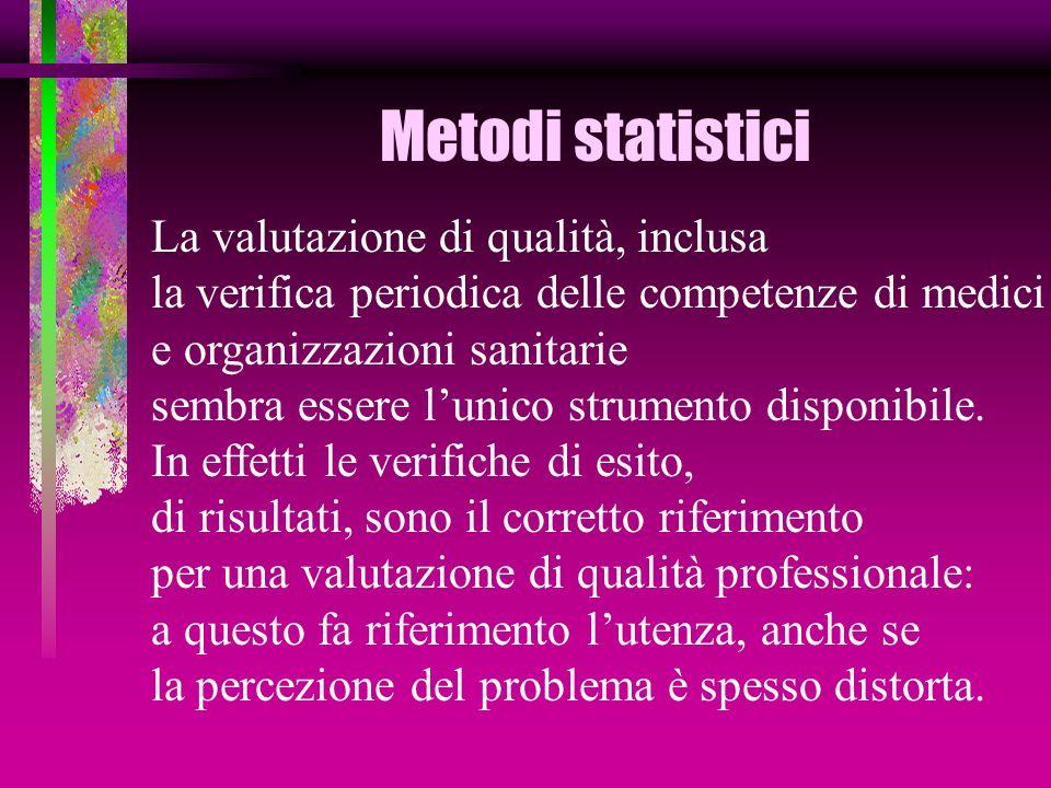 Metodi statistici La valutazione di qualità, inclusa la verifica periodica delle competenze di medici e organizzazioni sanitarie sembra essere lunico