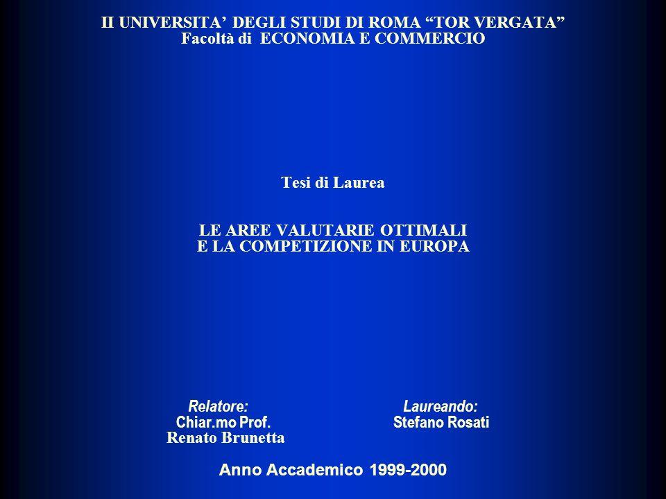 II UNIVERSITA DEGLI STUDI DI ROMA TOR VERGATA Facoltà di ECONOMIA E COMMERCIO Tesi di Laurea LE AREE VALUTARIE OTTIMALI E LA COMPETIZIONE IN EUROPA Re