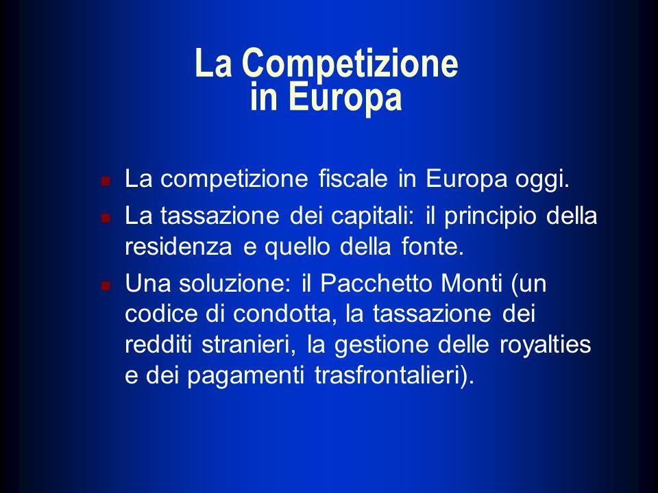 La Competizione in Europa La competizione fiscale in Europa oggi. La tassazione dei capitali: il principio della residenza e quello della fonte. Una s