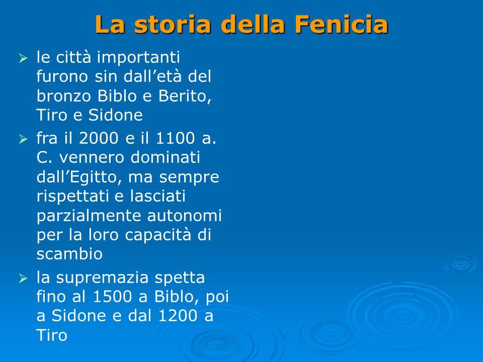 La storia della Fenicia le città importanti furono sin dalletà del bronzo Biblo e Berito, Tiro e Sidone fra il 2000 e il 1100 a.