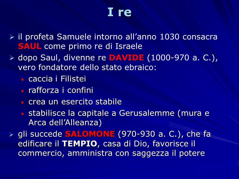 I re il profeta Samuele intorno allanno 1030 consacra SAUL come primo re di Israele dopo Saul, divenne re DAVIDE (1000-970 a.