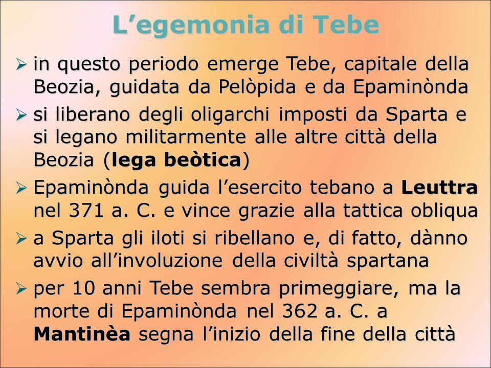 Legemonia di Tebe in questo periodo emerge Tebe, capitale della Beozia, guidata da Pelòpida e da Epaminònda in questo periodo emerge Tebe, capitale de
