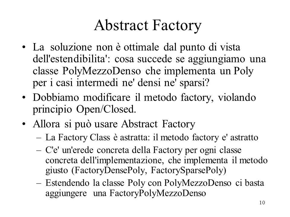 10 Abstract Factory La soluzione non è ottimale dal punto di vista dell'estendibilita': cosa succede se aggiungiamo una classe PolyMezzoDenso che impl