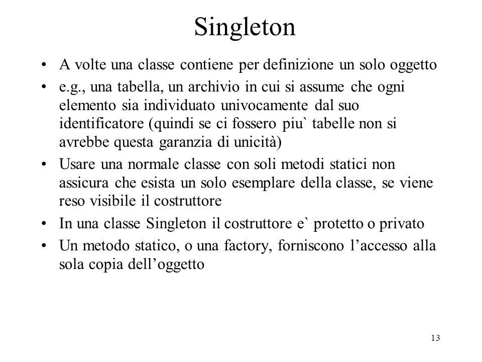 13 Singleton A volte una classe contiene per definizione un solo oggetto e.g., una tabella, un archivio in cui si assume che ogni elemento sia individ