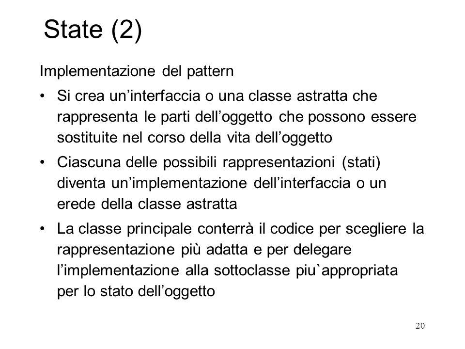 20 State (2) Implementazione del pattern Si crea uninterfaccia o una classe astratta che rappresenta le parti delloggetto che possono essere sostituit