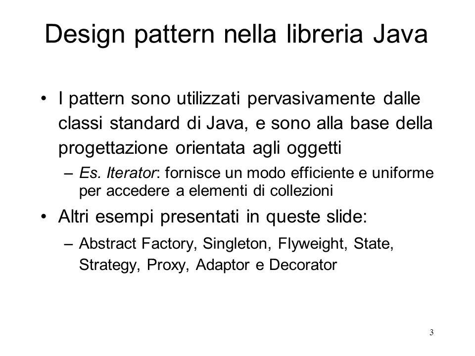3 Design pattern nella libreria Java I pattern sono utilizzati pervasivamente dalle classi standard di Java, e sono alla base della progettazione orie