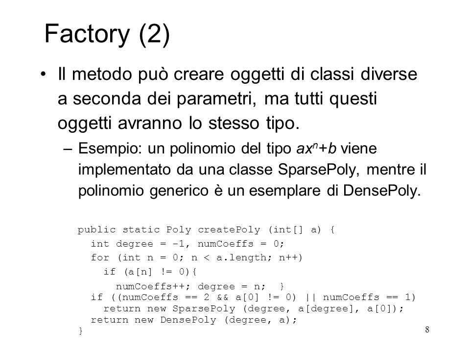 8 Factory (2) Il metodo può creare oggetti di classi diverse a seconda dei parametri, ma tutti questi oggetti avranno lo stesso tipo. –Esempio: un pol
