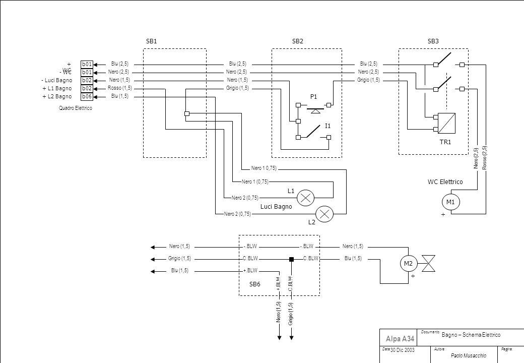 Documento: Data:Autore:Pagina: Paolo Musacchio Alpa A34 M1 + + WC M2 + + L1 Bagno - WC WC Elettrico SB1SB2SB3 Rosso (2,5) Nero (2,5) Blu (2,5) Grigio