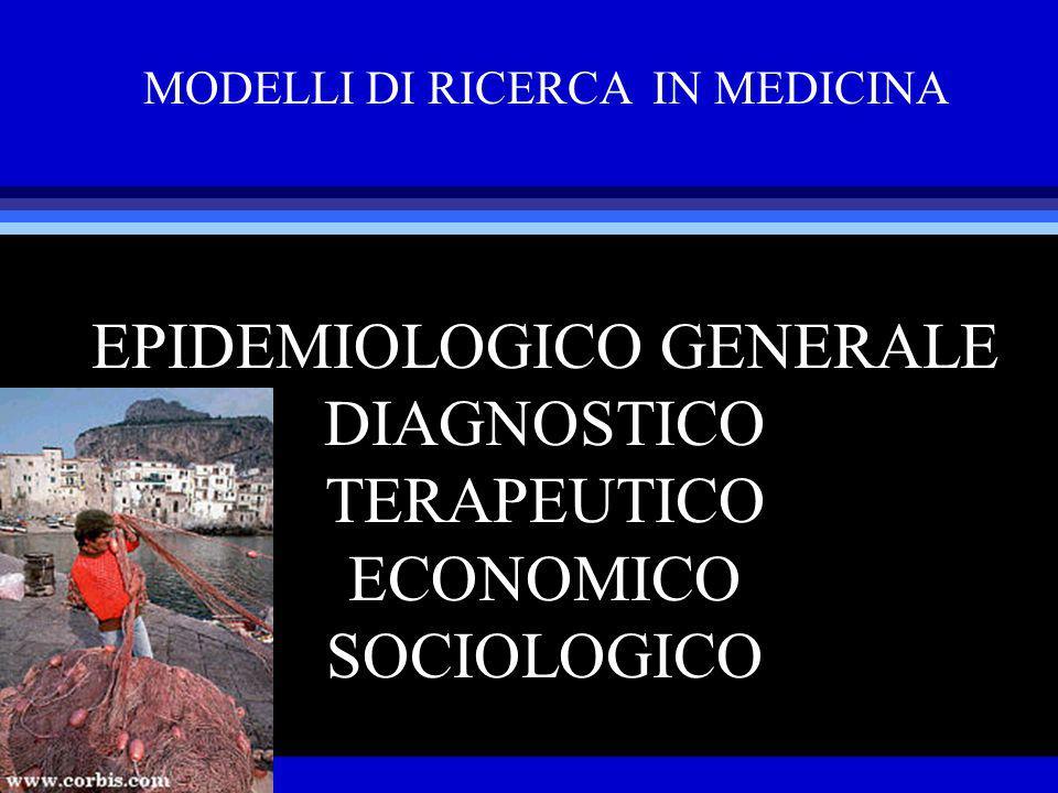 MODELLI DI RICERCA IN MEDICINA EPIDEMIOLOGICO GENERALE DIAGNOSTICO TERAPEUTICO ECONOMICO SOCIOLOGICO