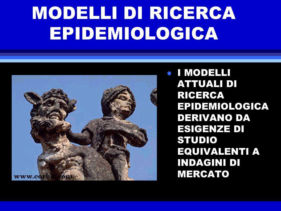 Modelli di ricerca in campo diagnostico l La necessità di valide modalità diagnostiche, utili al riconoscimento e per il follow-up di malattie è demandata a istituzioni ospedaliere