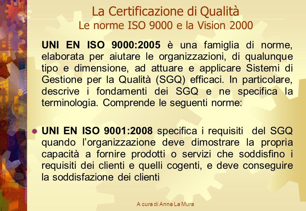 A cura di Anna La Mura La Certificazione di Qualità Le norme ISO 9000 e la Vision 2000 UNI EN ISO 9000:2005 è una famiglia di norme, elaborata per aiu