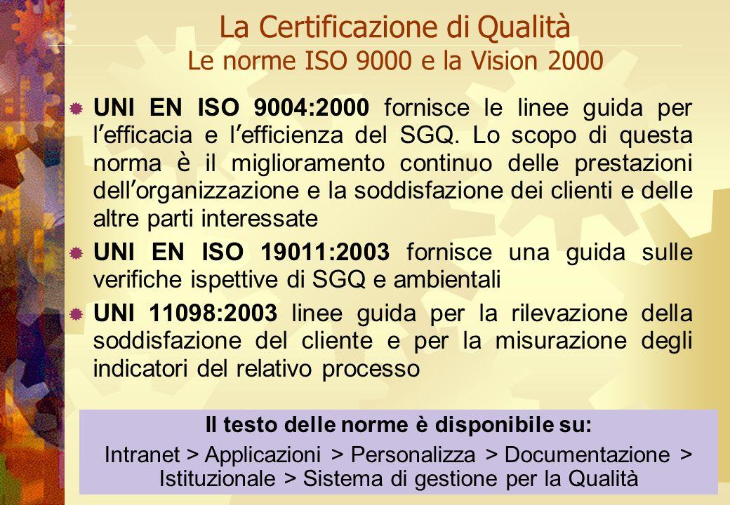 A cura di Anna La Mura La Certificazione di Qualità Le norme ISO 9000 e la Vision 2000 UNI EN ISO 9004:2000 fornisce le linee guida per l efficacia e