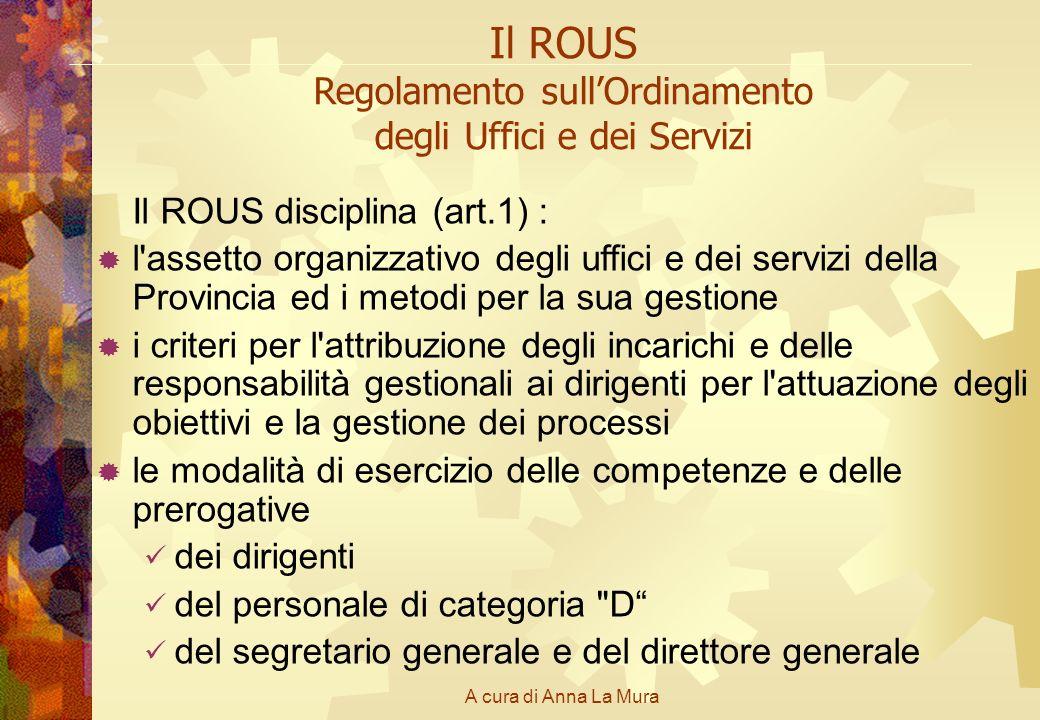 A cura di Anna La Mura Il ROUS Regolamento sullOrdinamento degli Uffici e dei Servizi Il ROUS disciplina (art.1) : l'assetto organizzativo degli uffic
