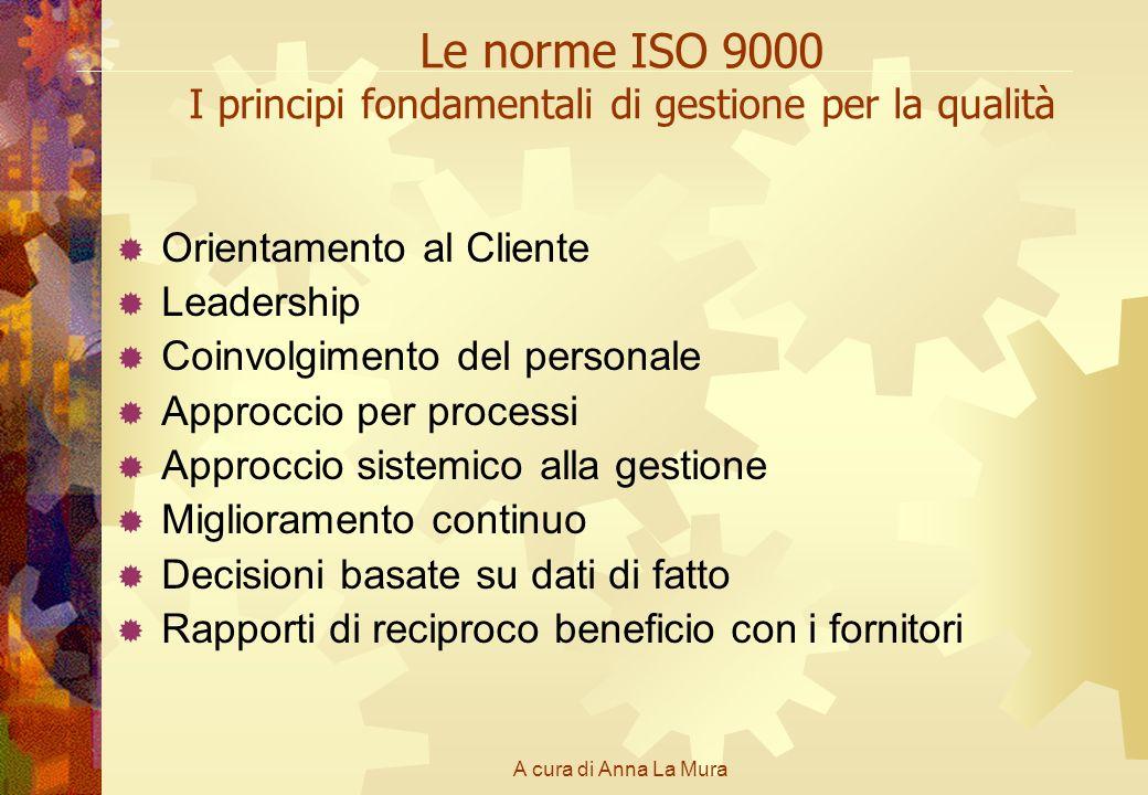 A cura di Anna La Mura Le norme ISO 9000 I principi fondamentali di gestione per la qualità Orientamento al Cliente Leadership Coinvolgimento del pers