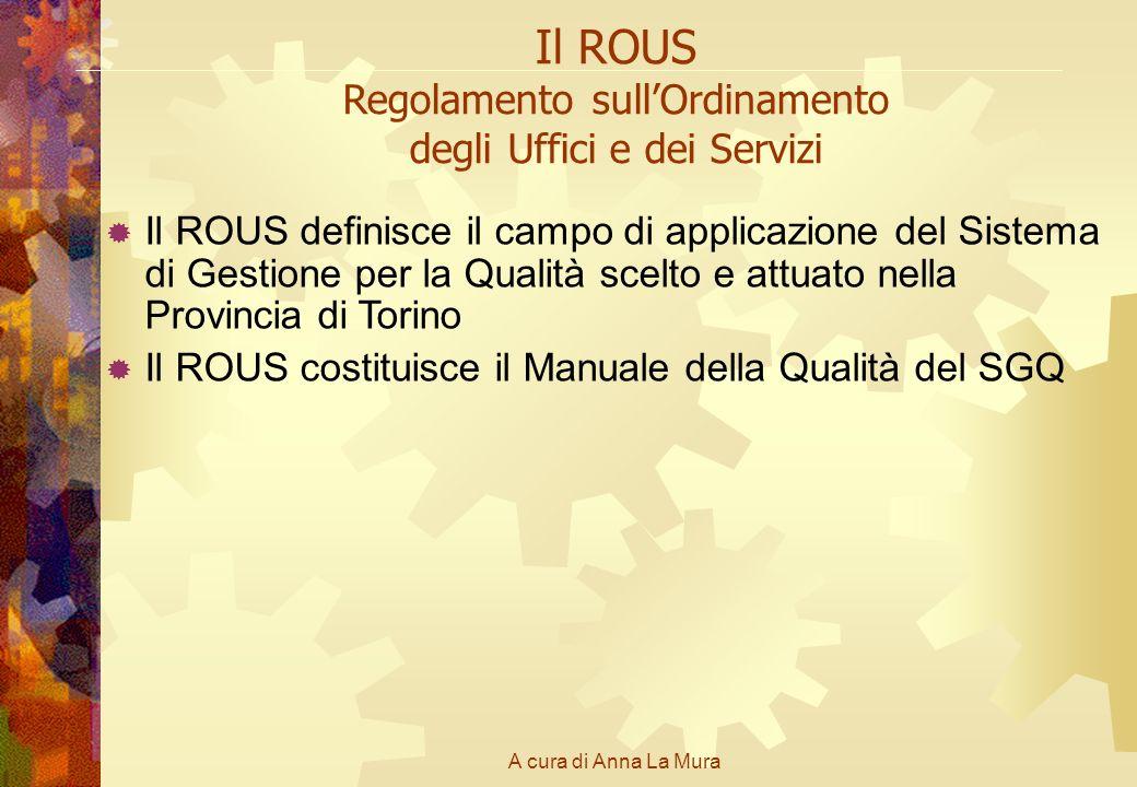 A cura di Anna La Mura Il ROUS Regolamento sullOrdinamento degli Uffici e dei Servizi Il ROUS definisce il campo di applicazione del Sistema di Gestio