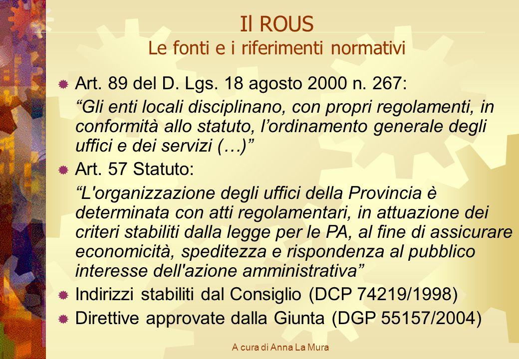 A cura di Anna La Mura Il ROUS Le fonti e i riferimenti normativi Art. 89 del D. Lgs. 18 agosto 2000 n. 267: Gli enti locali disciplinano, con propri