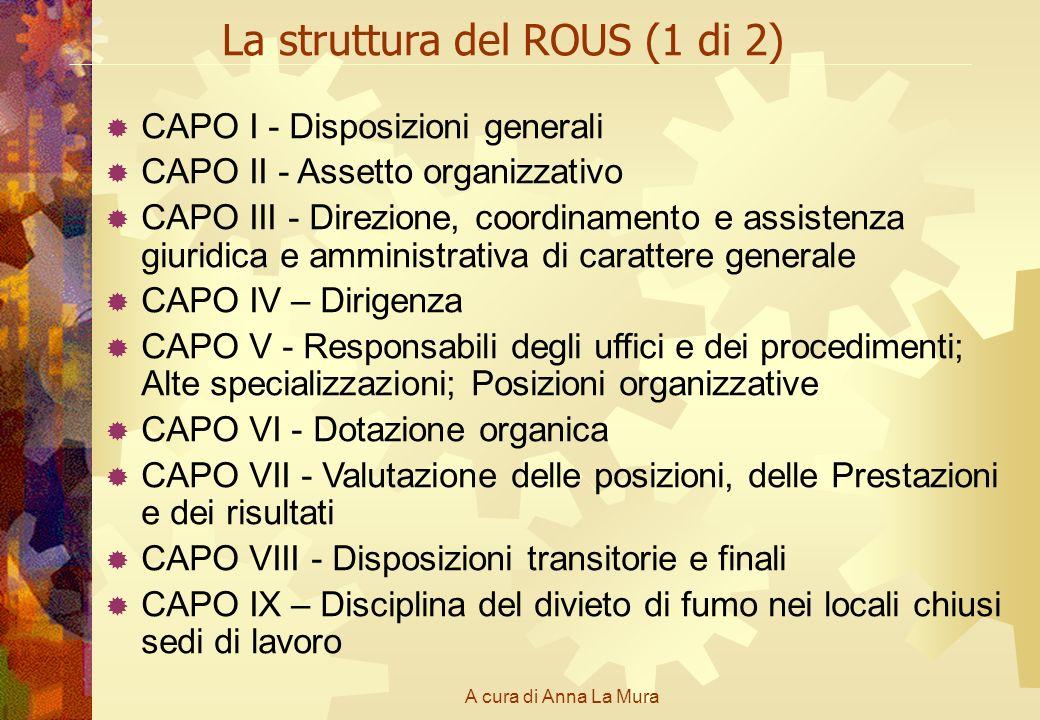 A cura di Anna La Mura La struttura del ROUS (1 di 2) CAPO I - Disposizioni generali CAPO II - Assetto organizzativo CAPO III - Direzione, coordinamen