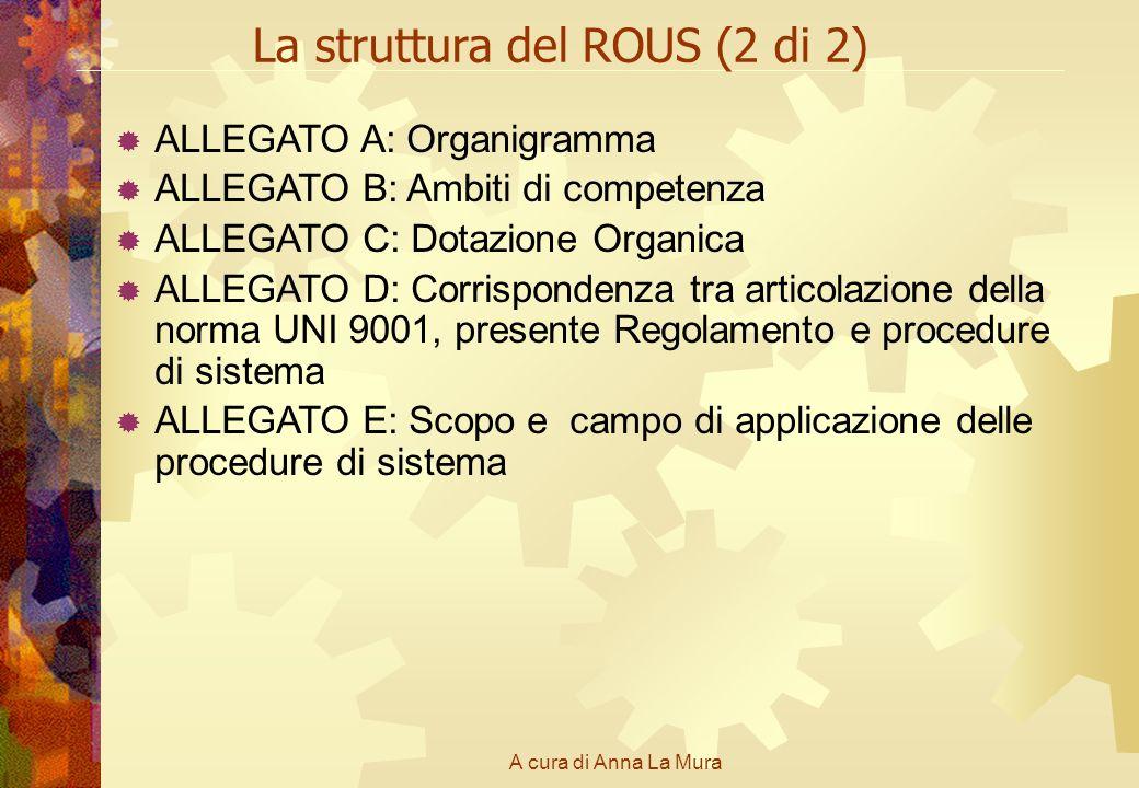 A cura di Anna La Mura La struttura del ROUS (2 di 2) ALLEGATO A: Organigramma ALLEGATO B: Ambiti di competenza ALLEGATO C: Dotazione Organica ALLEGAT