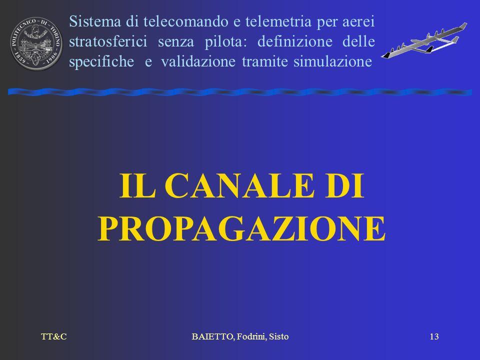 TT&CBAIETTO, Fodrini, Sisto13 IL CANALE DI PROPAGAZIONE Sistema di telecomando e telemetria per aerei stratosferici senza pilota: definizione delle sp