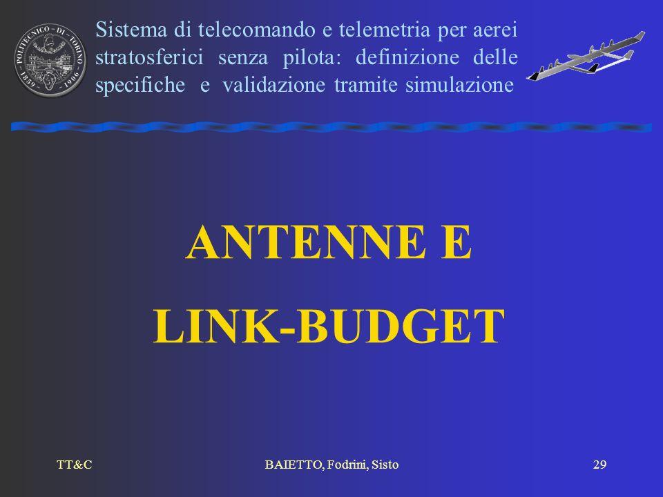 TT&CBAIETTO, Fodrini, Sisto29 ANTENNE E LINK-BUDGET Sistema di telecomando e telemetria per aerei stratosferici senza pilota: definizione delle specif