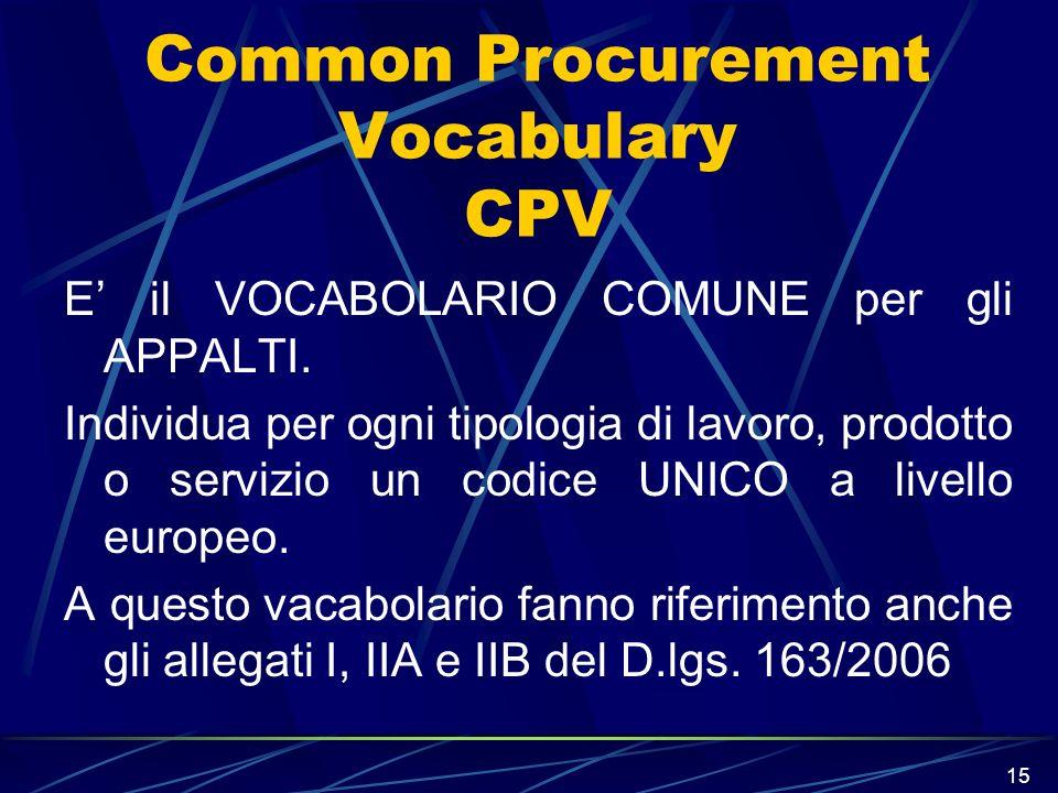 15 Common Procurement Vocabulary CPV E il VOCABOLARIO COMUNE per gli APPALTI. Individua per ogni tipologia di lavoro, prodotto o servizio un codice UN
